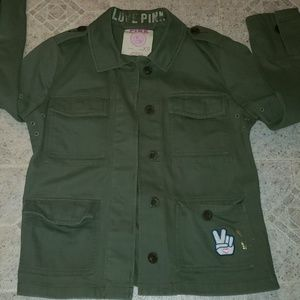 Pink brand military green fatigue jacket